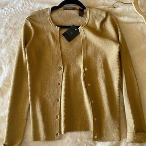 Liz Claiborne tan gold button up sweater
